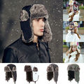 Para mujer para hombre caliente caliente con orejeras de invierno cap ruso trampero del bombardero sombreros de esquí de nieve