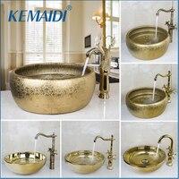 KEMAIDI Новое поступление кран для ванной комнаты круглая краска золотая чаша раковины/резервуары раковин умывальник керамическая раковина &