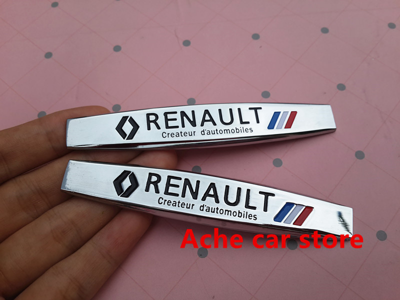 2pcs renault car fender side emblem badge decal rear trunk sticker for megane latitude vel satis. Black Bedroom Furniture Sets. Home Design Ideas