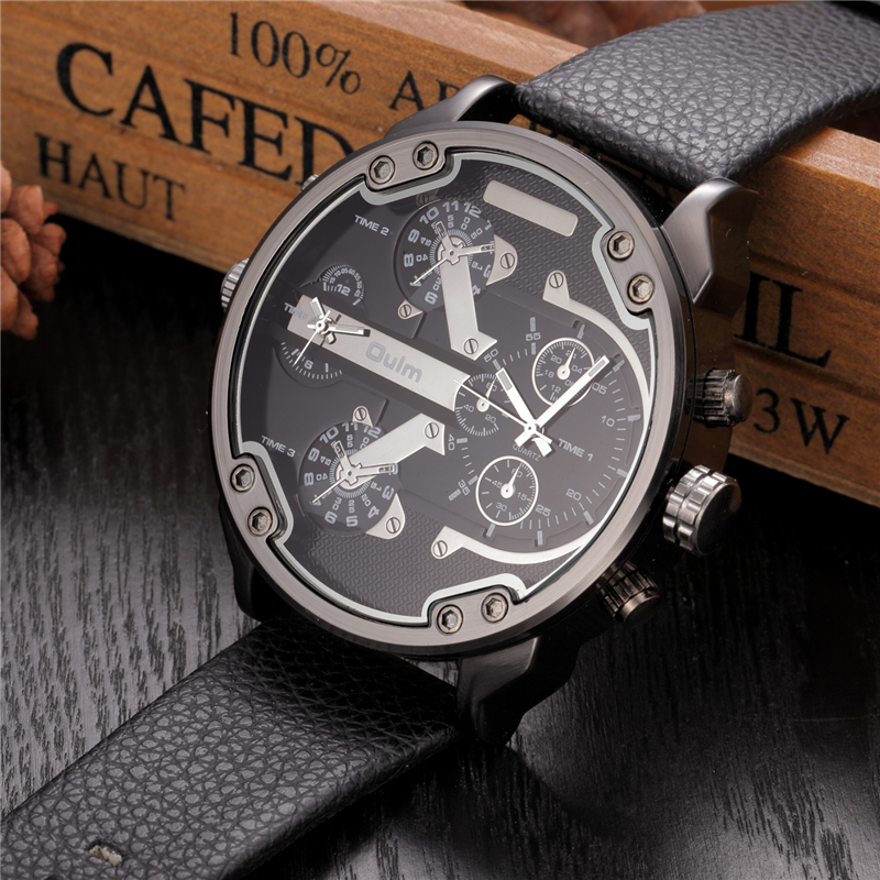 Los hombres de gran tamaño grande marca de lujo famoso diseñador único reloj de cuarzo grande relojes hombres oulm Relogio Masculino