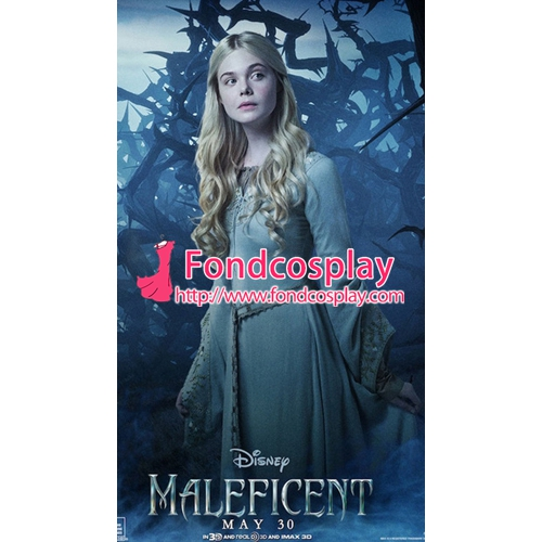 Free Shipping Maleficent(2014) Princess Aurora Dress Cosplay Costume Tailor-made