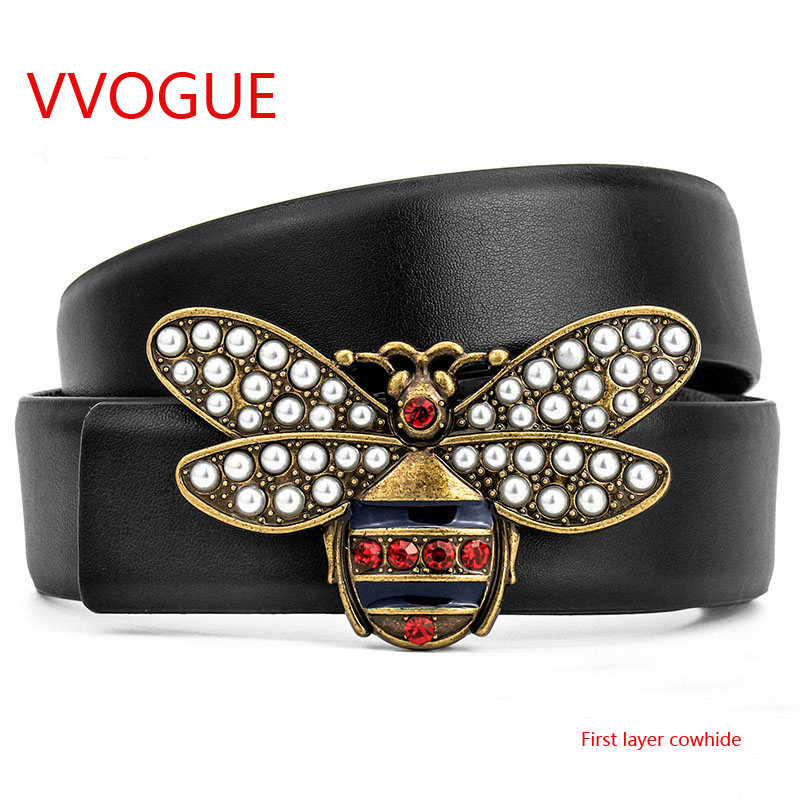 Bee Belt High Quality Male Casual Genuine Real Leather Buckle Brand 2018 New Arrival Luxury Men Designer GG