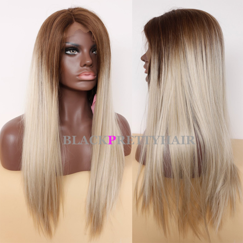 Long straight brown blonde ombre wig straight blonde lace front long straight brown blonde ombre wig straight blonde lace front wig two tone ombre synthetic hair wigs for black women on aliexpress alibaba group urmus Image collections