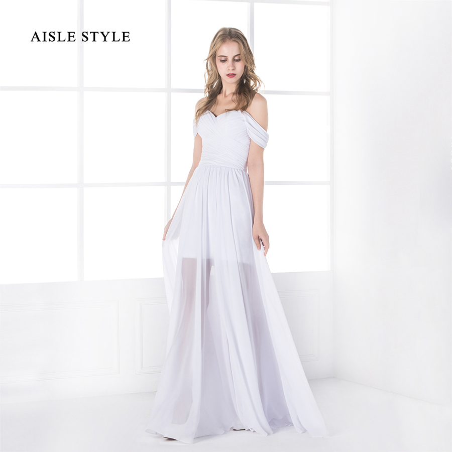 Elegant Off Shoulder Pleated Bodice Long White Chiffon Beach Wedding ...