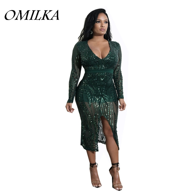 OMILKA 2018 Spring Women Long Sleeve V Neck Bodycon Sequin Midi Dress Sexy  Green Nude Black Glitter Shiny Club Party Dress 1d79c9514e13