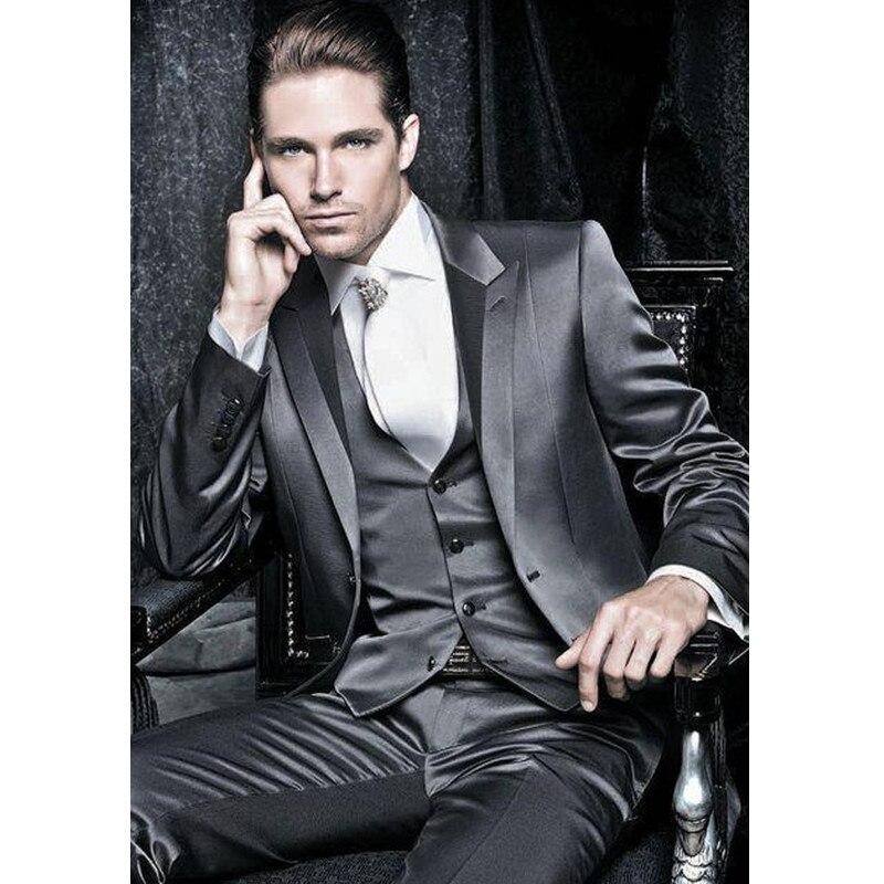 2017 Latest Coat Designs Dark Grey Groom Suits Tuxedos For Prom Wedding (Jacket+Pants+Vest) Men Suit Set Costume Marriage Homme