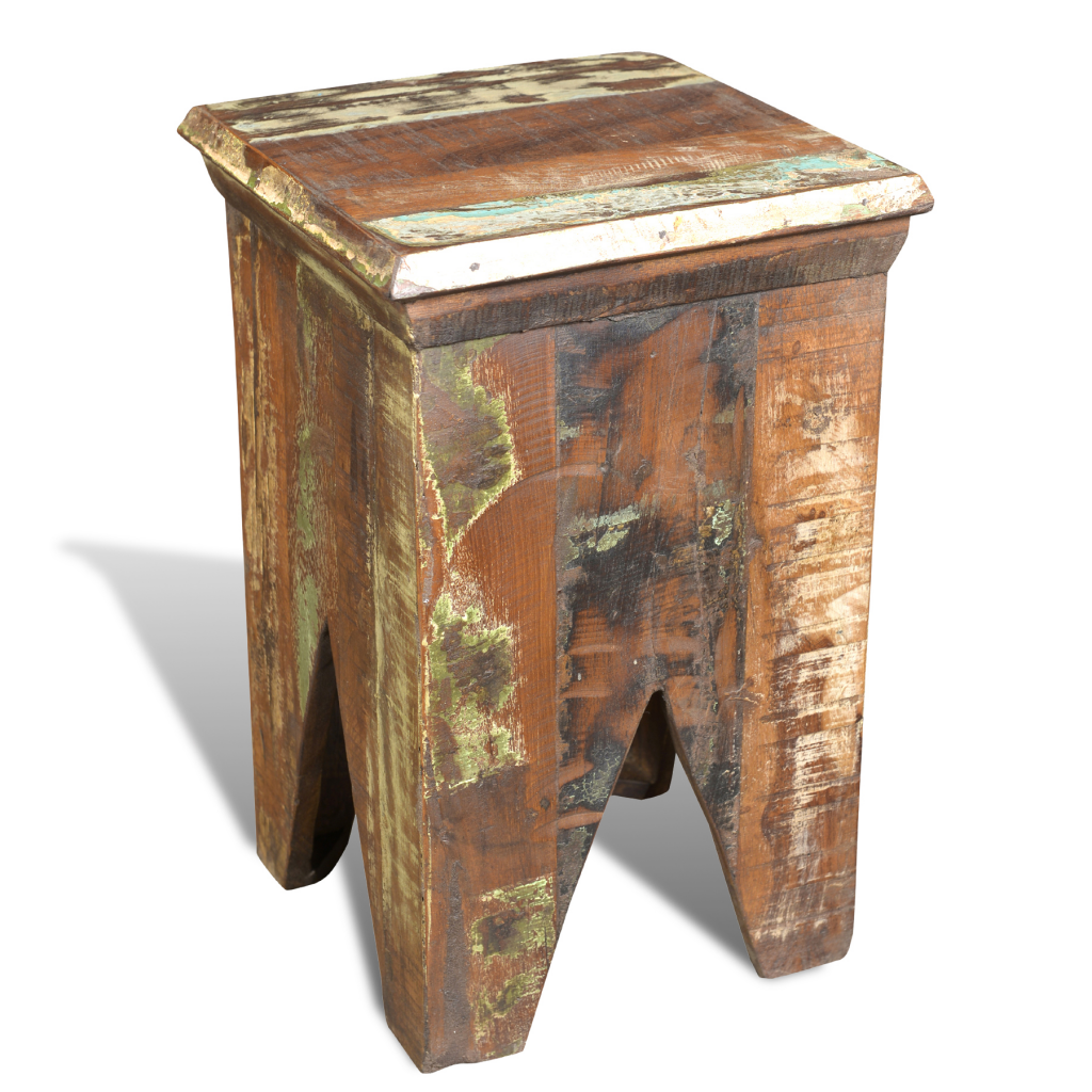 hocker taburete silla antigua de madera reciclada para el hogar nave de eschina