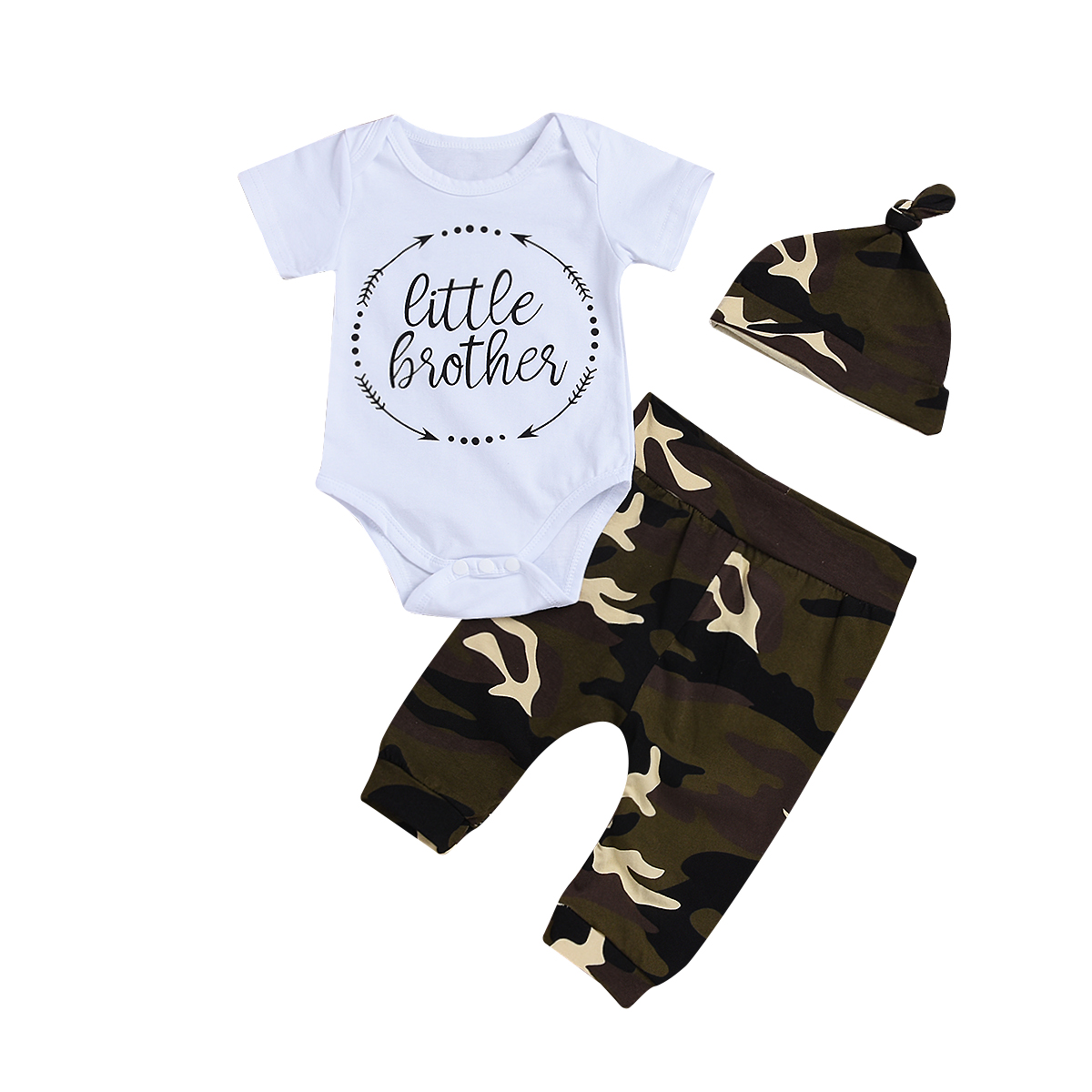 Boy Suits Casual Newborn Infant Baby Boy Little Brother Short/Long Sleeve 3Pcs Camo Outfits Romper Pants Set 0-24M
