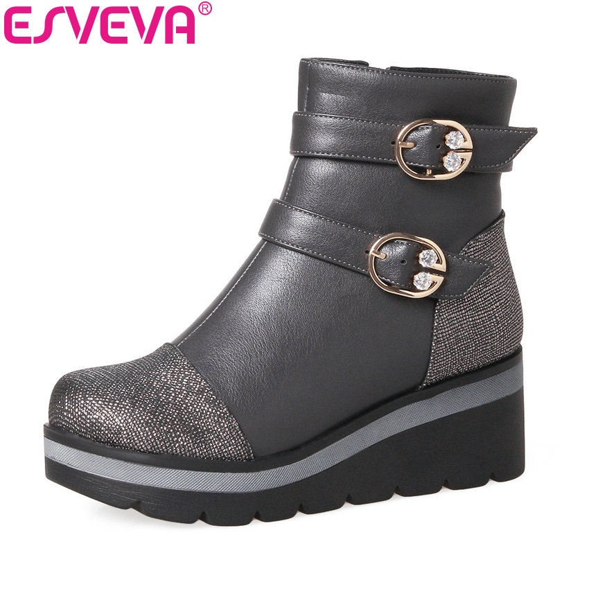 ESVEVA 2018 Winter Autumn Women Boots Crystal Platform Ankle Boots Square Heel Round Toe Ladies Fashion Boots Black Size 34-39 women ankle boots 2016 round toe autumn shoes booties lace up black and white ladies short 2017 flat fashion female new chinese