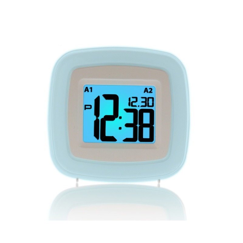 Battery Operated LCD Screen Mini Snooze Bedside Dual Alarm Clock with Calendar Display Color Changing Backlight