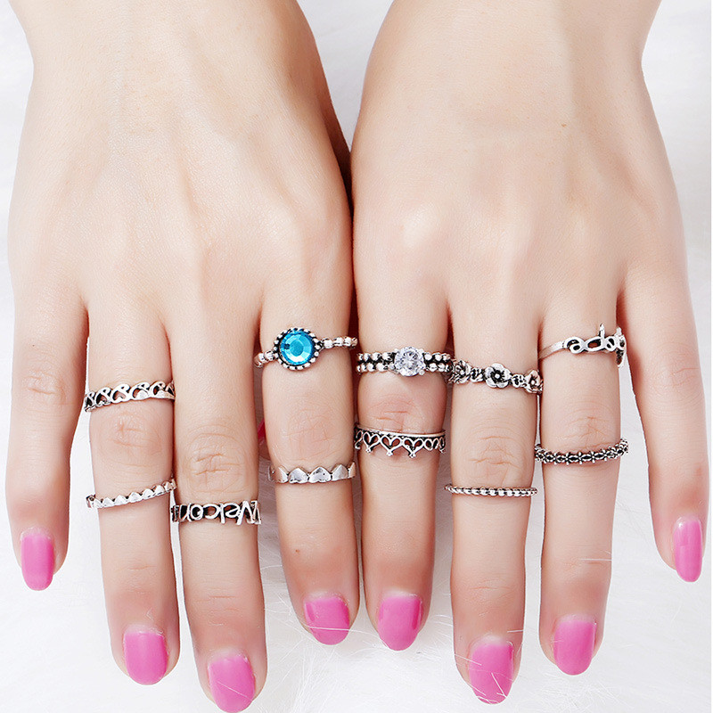 Boho Punk Blue Crystal Ring Sets Jewerly 11Pcs/Sets For Women Antique Silver Flowers.Heart, Love,Crown Ring Set Anillos Corona