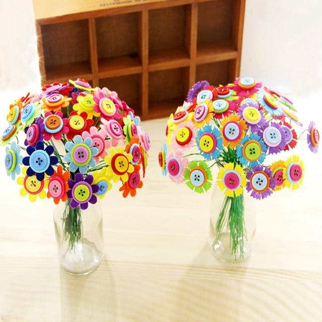 Kids DIY Button Bouquet Flower Craft Kits Kindergarten Handmade Creative Toys For Children Teacher