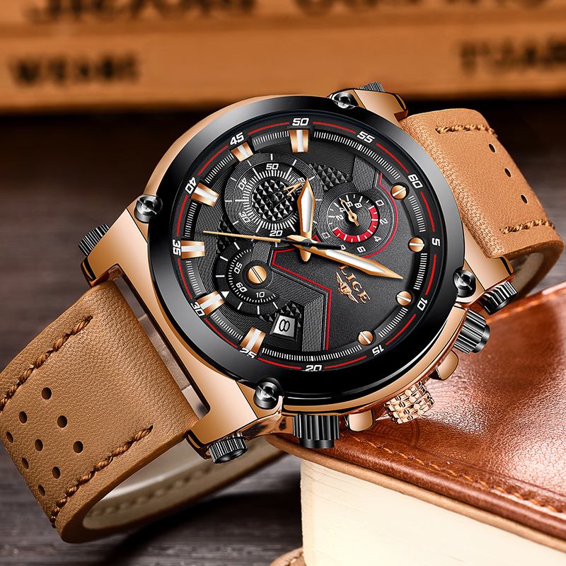 2018 LIGE herrklockor Business Top Luxury Brand Quartz Watch Herr - Herrklockor - Foto 4