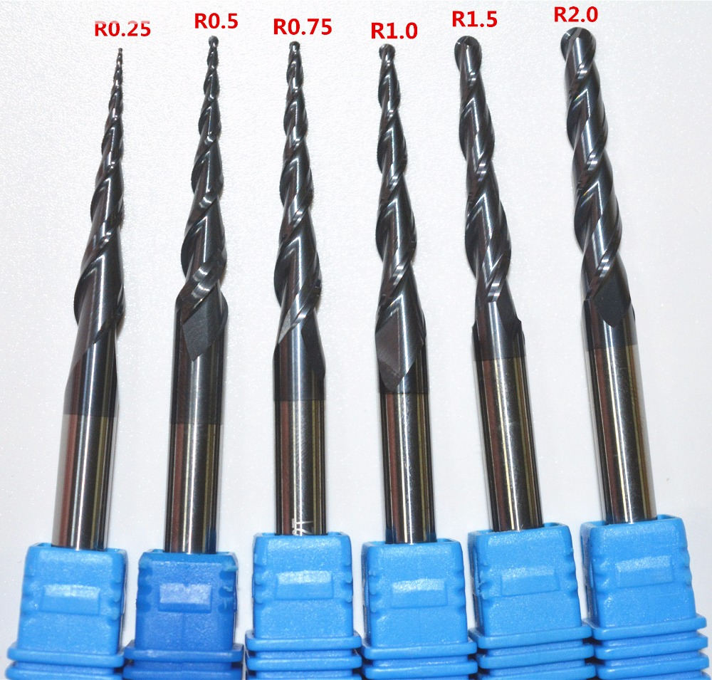 """R1.0 x3.175 shank 2 flutes Tungsten solid carbide Coated Tapered Ball bit 1//8/"""""""