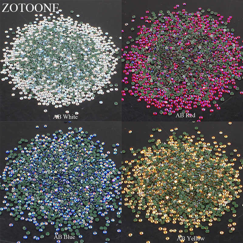ZOTOONE Iron On Glass Strass Stones And Crystals Hotfix Flat Back AB Rhinestones  Nail For Clothing 0e89a27a7fa4