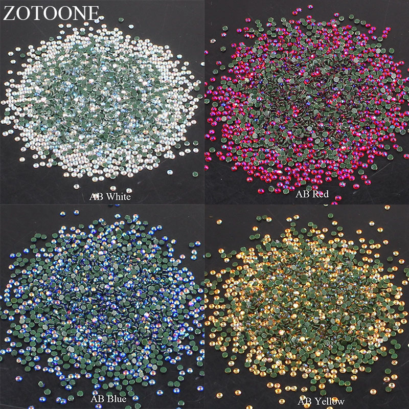 ZOTOONE Iron On Glass Strass Stones And Crystals Hotfix Flat Back AB Rhinestones Nail For Clothing Crafts Applique Decoration E