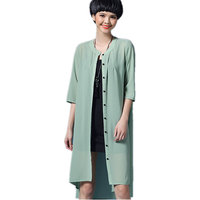 2017 Summer Brand Women Chiffon Thin Lightproof Solid Color Trench Coat Female Long Casual Cardigan Free