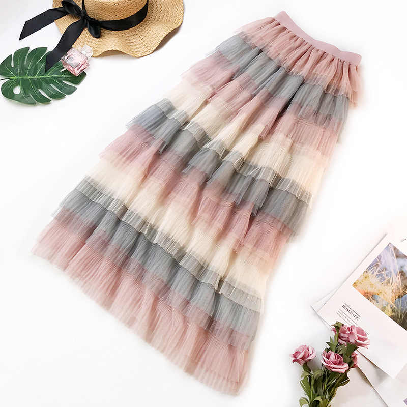 New Tutu Tulle Skirts Womens 2019 Spring Summer Ball Gown Mesh Skirt Sweet Rainbow High Waist Maxi Skirt Female Jupe Tulle Femme