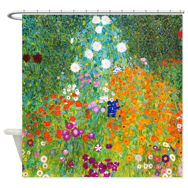 Gustav Klimt Fiore Giardino Decorativo Tessuto Tenda Della Doccia Prodotti Da Ba