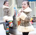 high quality kids fur collar coat new design winter baby girls warm leopard jacket new fashion children's long sleeve outwear