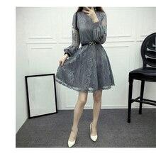 Autumn dress 2019 new XL Korean lace black and white to open hollow lanterns sleeve fashion sexy vestido female LR58