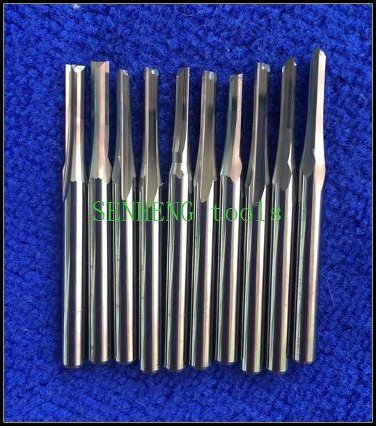 10 peças de 3.175*2.5*12mm dupla flauta reta ranhura escultura ferramentas fresa cnc router bits acrílico plástico de madeira do pvc MDF
