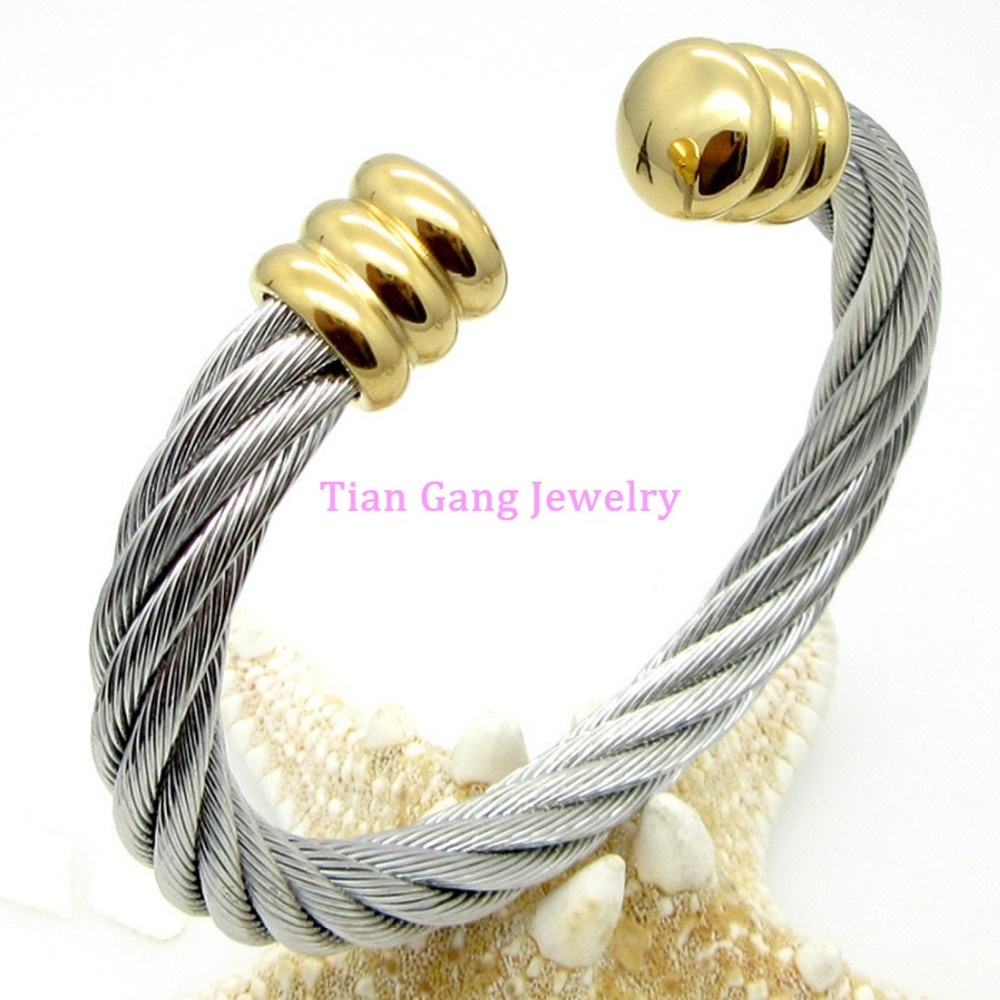 Heavy Women Men s 316L Stainless Steel Cable Wire Twist Cuff Banlge Silver font b Gold