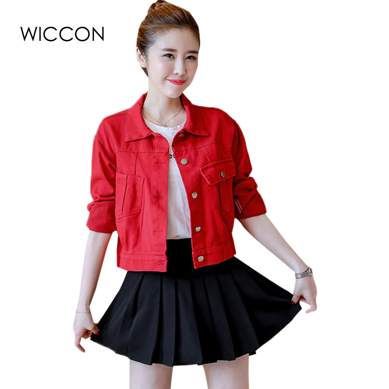 High Quality Spring Autumn Denim Jacket Women Basic Coats Short <font><b>Jeans</b></font> Overcoat Ladies Girls Slim Casual Jackets Tops WICCON