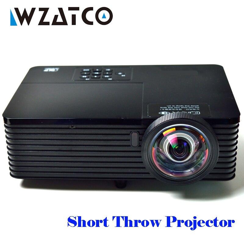 WZATCO 6000 Lumen Corta Coperte e Plaid 3D Proiettore DLP Beamer Proyector Full HD 1080 P 300i Incontro di Lavoro Istruzione Android 7.1 opzioni di