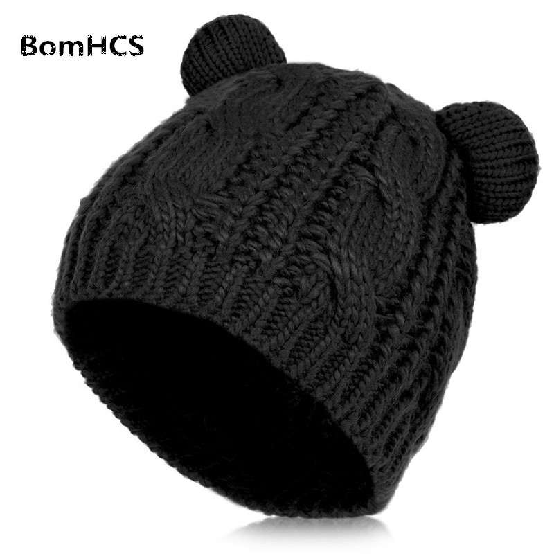 BomHCS Women Warm Winter Hat Knitted Winter Cap Cute Cat Ear Beanie Hat for Women Girls bomhcs cute big flower beanie winter lady s warm crochet knitted hat 10