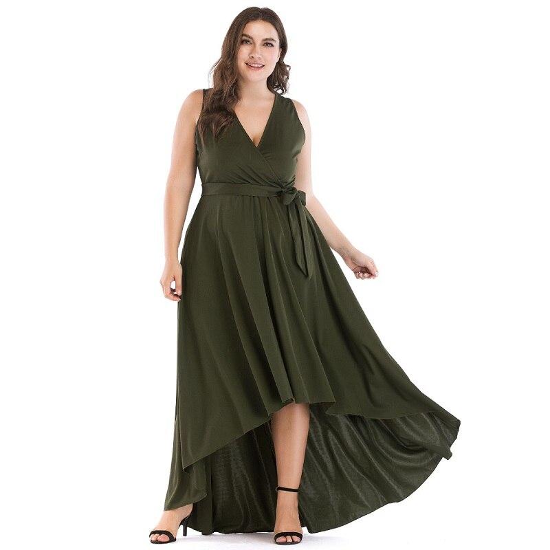 Cou Plus La Robe Tunique En Maxi Soirée up Flowy Femmes Dentelle Vert Sexy V Discothèque Haute Taille 5xl Manches Sans Bas c4AR5jL3q
