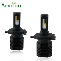 AmmToo H4 H7 LED Car Headlight 80W Fog Light All in one 10000Lm 12V 6000K 3000K 9012 9005 9006 5202 H11 H13 HB4 Auto LED Bulb