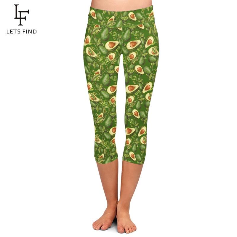 Summer New Woman Green Avocado High Waist Printing Capri Leggings High Quality Fitness Soft Mid-Calf Pants Hot Sale