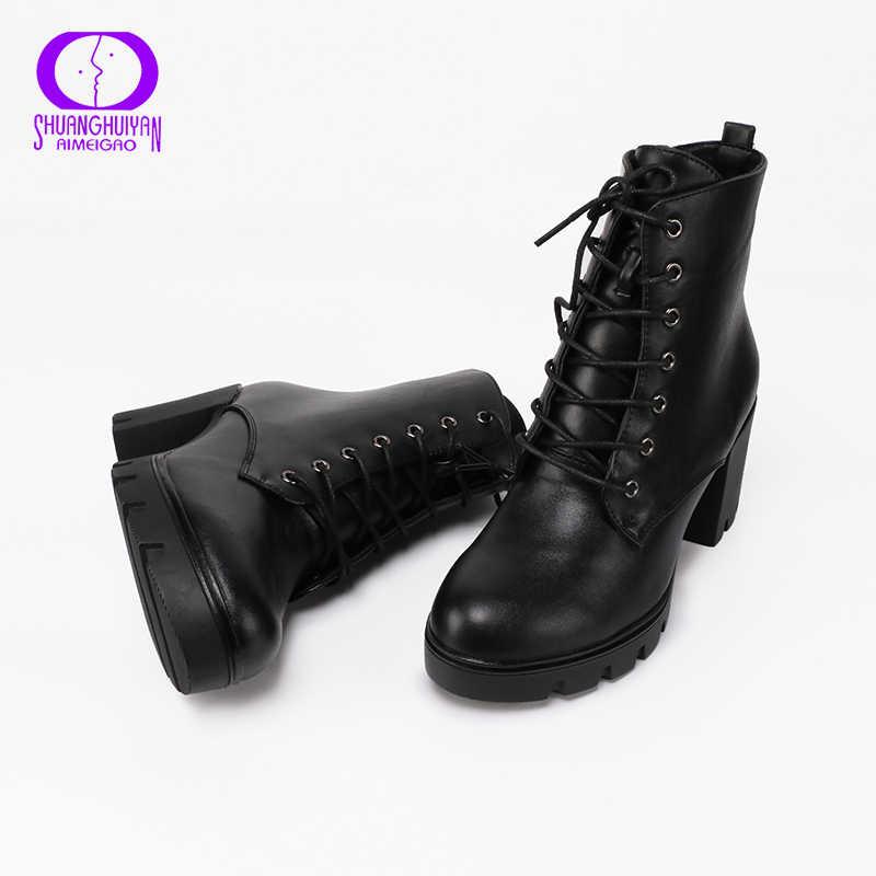 AIMEIGAO Kadın yarım çizmeler Yumuşak Deri Kalın yüksek Topuk Platform Çizmeler Kış Sonbahar Botları Sıcak Kürk Büyük Boy Kadın Botları