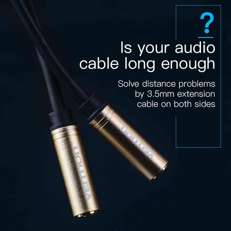 Vention jack 3.5mm fêmea para fêmea cabo de áudio banhado a ouro cabo de extensão áudio aux cabo para computador telefone móvel ps3 ps4