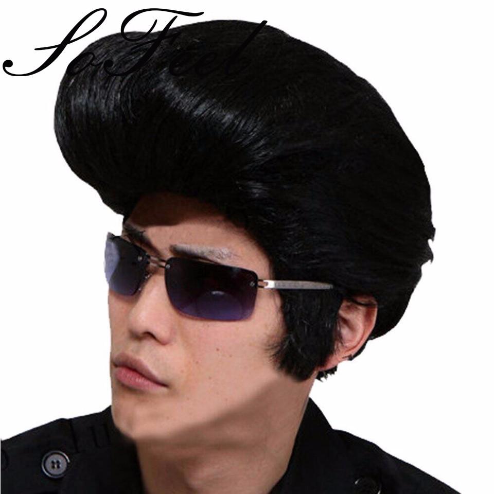 Sofeel Rock N Roll Elvis Presley Costume Peinado Peluca De La Cabeza De Avión Para Hombre Cosplay Peluca Cosplay Pink Wig Wig Ringwig Orange Aliexpress
