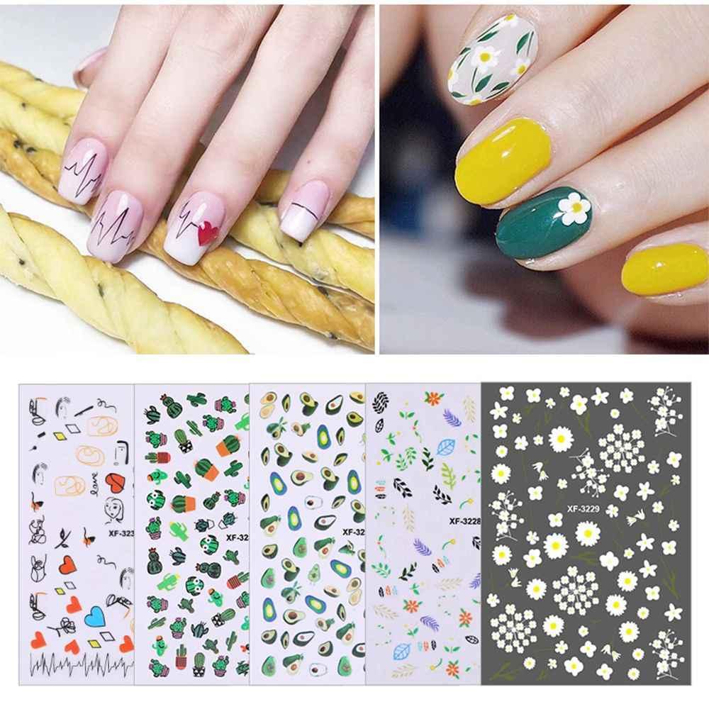Cactus 1 folha Nova Chegada Da Flor Da Fruta de Abacate Letras Padrão de Papel Etiqueta Do Prego DIY Applique Adesivo Manicure