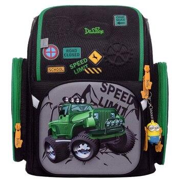 Delune Orthopedic Waterproof Original School Bags for Boys 3D Four-wheel Car Pattern Children Backpack Satchel Mochila Infantil
