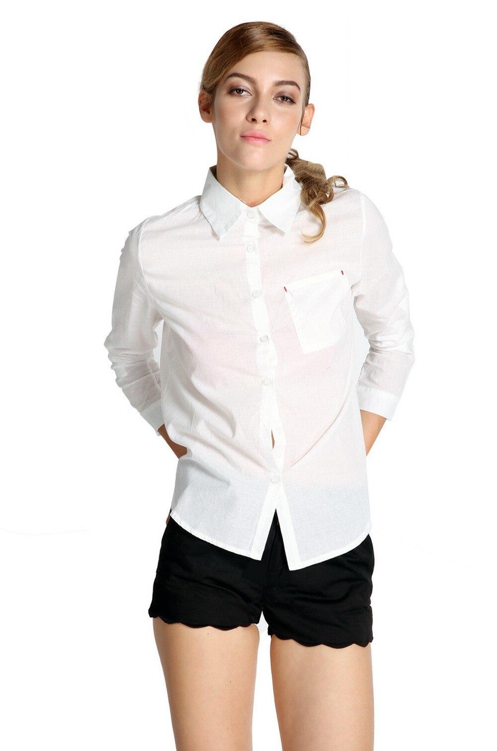 2014 Nueva Moda Mujeres Sueltas Blusas de Algodón Sexy Otoño Camisa de Manga Lar
