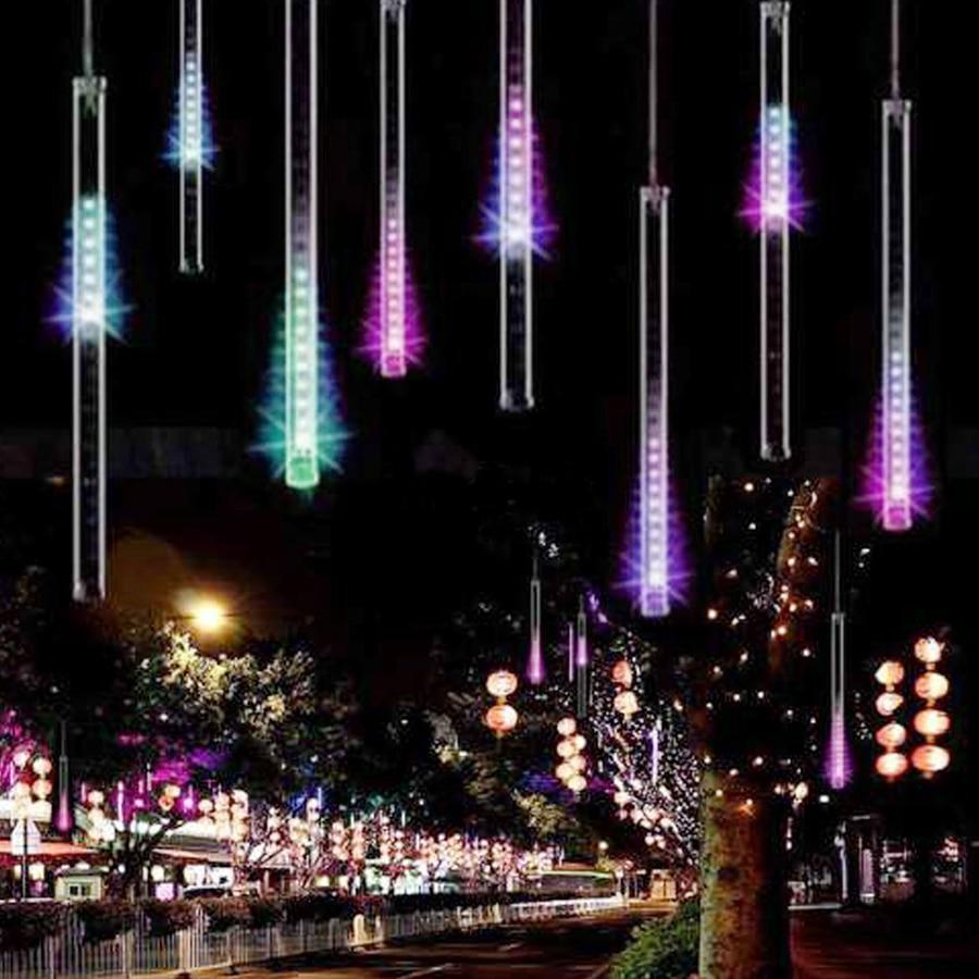 Luces impermeables para el día de fiesta 30 cm 50 cm Lluvia de meteoros Tubos de lluvia Lámpara de luz llevada 100-240 V Fiesta de jardín de bodas de Navidad Luz de cadena