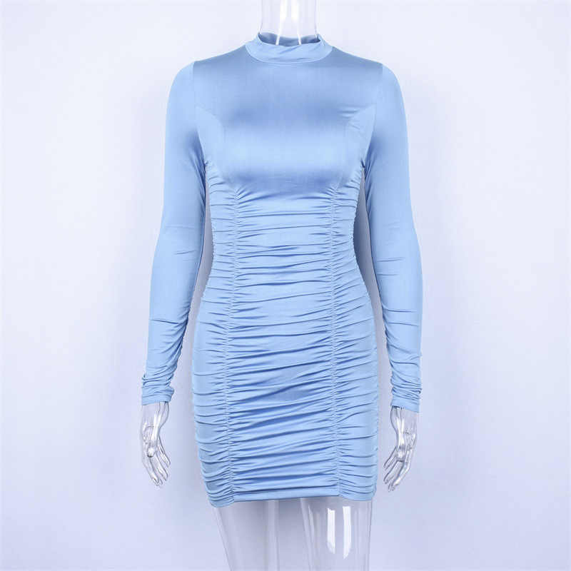 2ca7eb0fd9 2018 Women Sexy Scrunch Pleated Dresses Long Sleeve Turtleneck Ladies Party  Club Booty Dress Mujer Bodycon Skinny Butt Dress