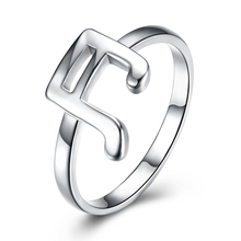 Fashion 925 Musical Symbol Ring Silver Color Plated Finger Ring Fine Party Accessorise Jewelry for Women Nice Gift