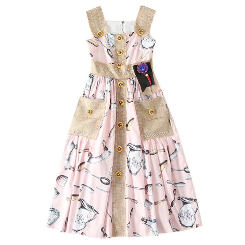 08d47b5114 runway 2018 designers dresses women raw fringe linen straps rhinestone  beaded button pockets women midi dress women beach dress