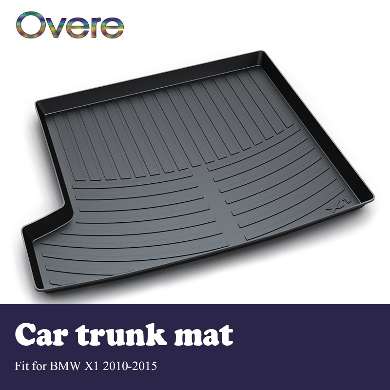 Overe 1Set Car Cargo rear trunk mat For BMW X1 E84 2010 2011 2012 2013 2014 2015 Car styling Boot Tray Anti Slip Mat accessories car auto accessories rear trunk trim tail door trim for subaru xv 2009 2010 2011 2012 2013 2014 abs chrome 1pc per set