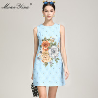 MoaaYina Summer Fashion Short blue Dress Women's Sleeveless Casual Flower Print Beading Party Elegant Runway Dresses