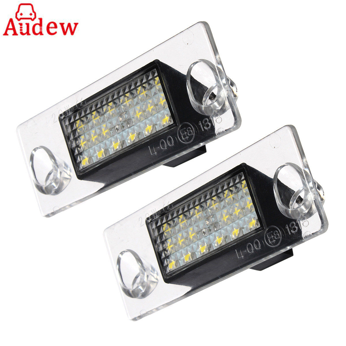 2Pcs Car LED License Plate Light 12V  LED Number Plate Lamp Error Free For Audi A4 S4 B5 98-01 White 2x e marked obc error free 24 led white license number plate light lamp for bmw e81 e82 e90 e91 e92 e93 e60 e61 e39 x1 e84