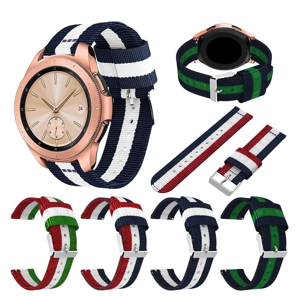 Fashion Striped Nylon Strap Watchband For Samsung Galaxy Watch 42mm Smart Watch Bracelet Nylon Replacement 20mm Wristband Belt