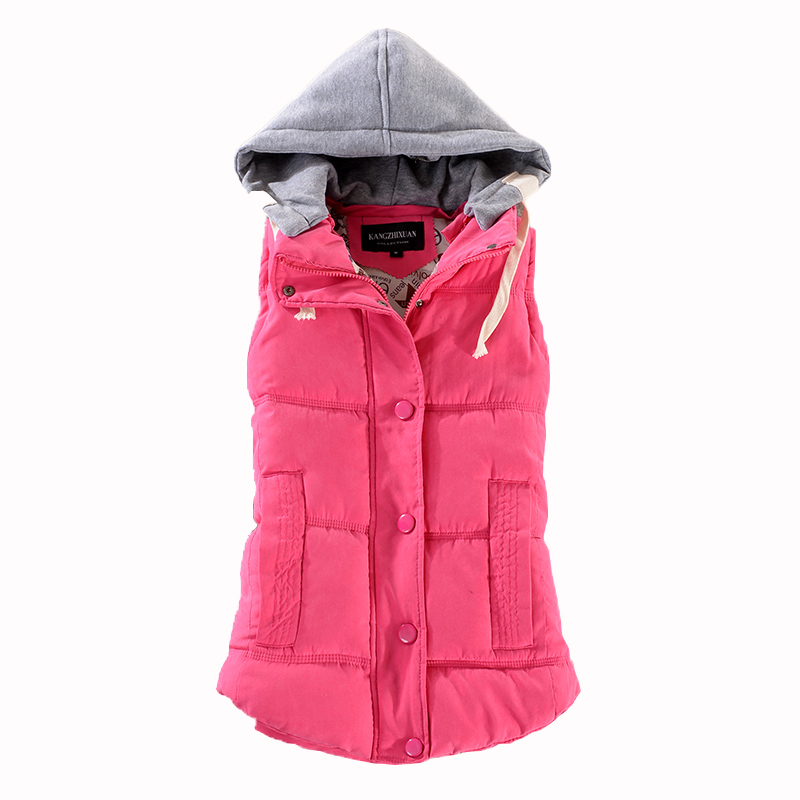 2018 New Women Casual Winter Vest Warm Thick Outwear Jackets Womens Vests With Hood Waistcoat