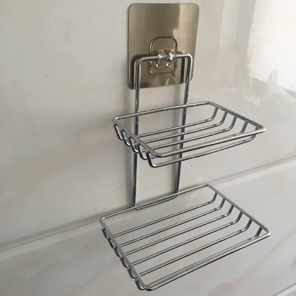 المعادن المطبخ الحمام اكسسوارات 1 قطعة بالوعة الرف مزدوجة الالتصاق الإسفنج استنزاف رف متعددة الوظائف تخزين رفوف