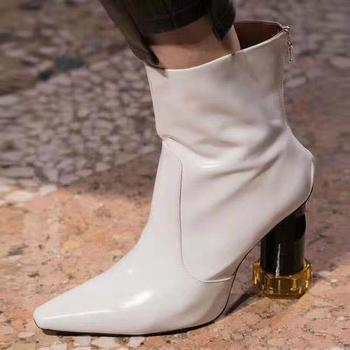 Ladies White Patent Leather Strange Heel Ankle Shoes Women Block High Heel Ankle Boots Zipper Up Motorcycle Boots